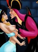 The evil Jaffar takes Jasmine roughly