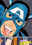 WonderWoman sucking Captain America and getting cumshot sprayed